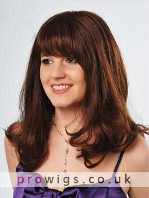 """18"""" Wavy Full Lace Human Hair Wig With Bangs"""