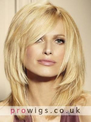 Medium Layered Blonde Human Hair Lace Front Wig