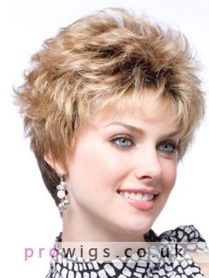 Women's Short Capless Wavy Human Hair Wig