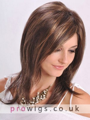 Long Length Lightly Layered Smooth Human Hair Lace Front Wig