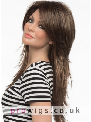 Long Shaggy Hair Layers Style With Swept Bangs Monofilament Top Wig