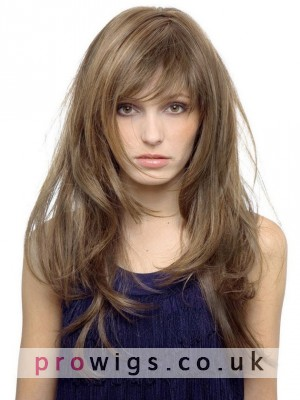 Face Framing Human Hair Capless Wig With Full Bang
