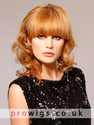 Big Curly Medium Length Capless Wig With Thick Bangs