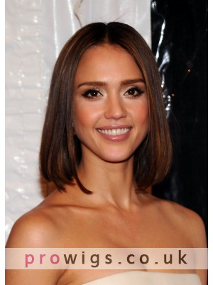 Brown Medium Length Straight Women Wig With Centre Parting