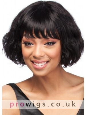 Black Women Remy Human Hair Wig With Neat Bangs