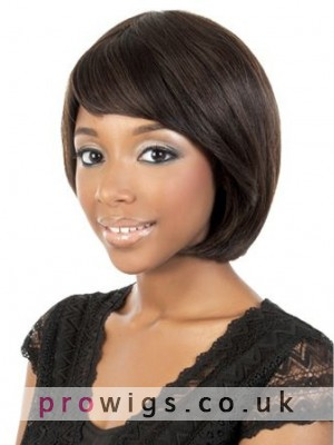 Soft Capless Straight Wig With Side Bangs