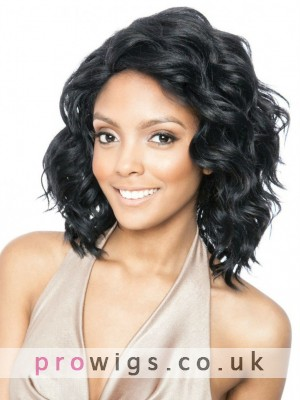 Black Curly Medium Length Lace Front Wig
