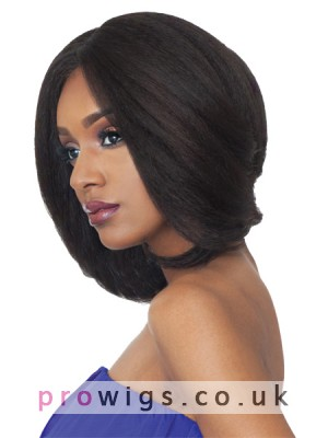 Soft Medium Length Remy Human Hair Wig With Side Bangs