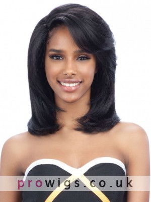 Remy Human Hair Soft Medium Length Full Lace Wig