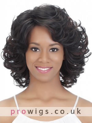 Black Medium Length Wavy Remy Human Hair Full Lace Wig