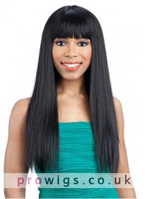 """22""""Straight Full Lace Wig With Neat Bangs"""