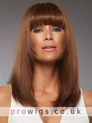 Brown Straight Full Lace Wig With Neat Bangs