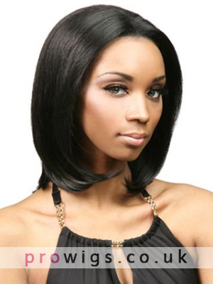 Human Hair Mid-Length Straight Lace Front Wig