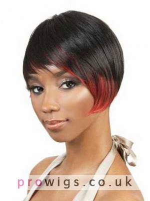 A-Symmetrical Cut Synthetic Capless Wig