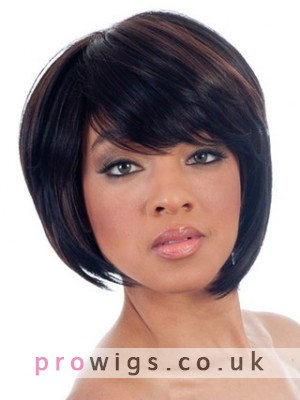 Asymmetrical Bob Side Swept Bangs Synthetic Wig