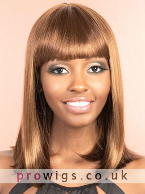 Shoulder Length Silky Straight Synthetic Wig