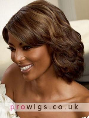 Natural  Wig Human Hair Side Bang For Black Women