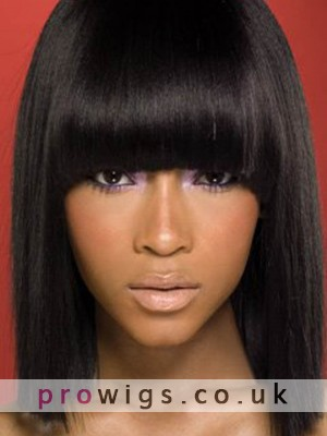 Medium Lace Front Silkystrsight African American Wigs