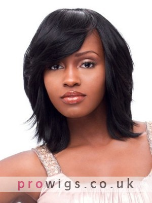 The Fresh Short Straight Brown Full Bang African American Wig