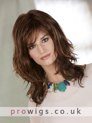 Mid-length Synthetic Shag With Side Swept Bangs