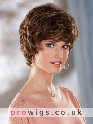 Short Tousled Wavy Synthetic Capless Wig