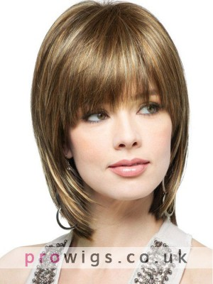 The Latest Catwalk Trends Synthetic Lace Wigs With Full Bangs