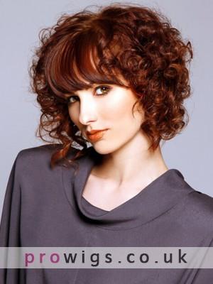 Medium Length Big Curly Capless Wig With Bangs