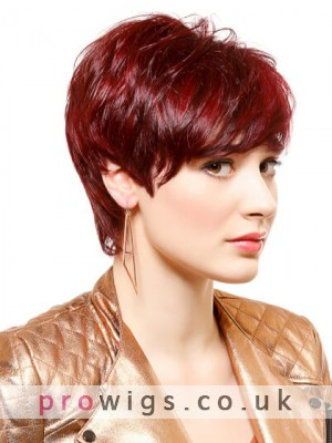 Red Fashion Short Machine Made Synthetic Wig