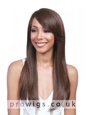 "22""Silky Straight Brown Synthetic Capless Wig With Side Bangs"