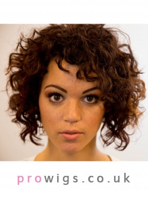 Frizzy Wonderful Curly Capless Brown Synthetic Wig