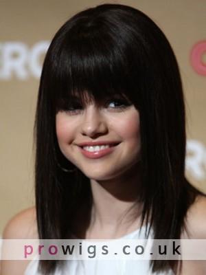 Selena Gomez's Full Bangs Straight Wig
