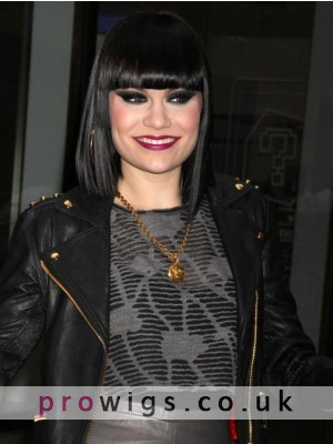 Classic Medium Straight Jessie J Synthetic Capless Wig For Woman