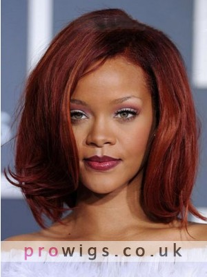 Fashion Medium Straight Rihanna Hairstyle Synthetic Lace Front Wig