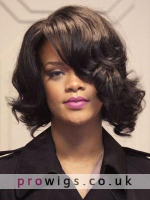 Cool Medium Wavy Rihanna Hairstyle Remy Human Hair Lace Front Wig