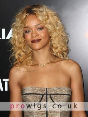 Sexy Medium Wavy Rihanna Hairstyle Remy Human Hair Lace Front Wig