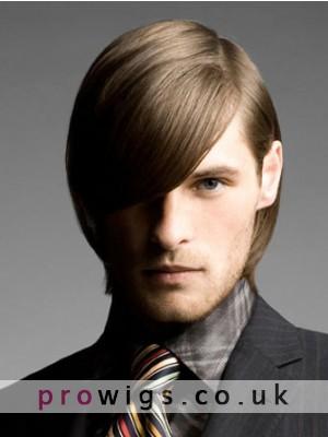 Short Straight Lace Front Mens Human Hair Wig