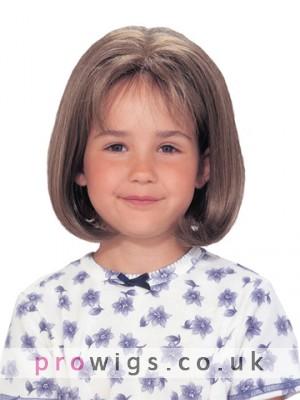 Lace Front Short Bob Natural Bangs Girl's Wigs