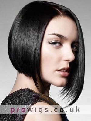 Natural Straight Human Hair Longer Side Bob Wig