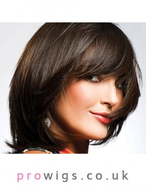 Straight Capless Synthetic Medium Length Wig