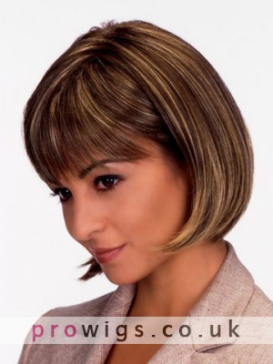 Short Straight Hairstyle Human Hair 3/4 Wig