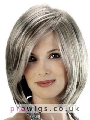 Angled Sides And Soft Beveled Nape Grey Wig