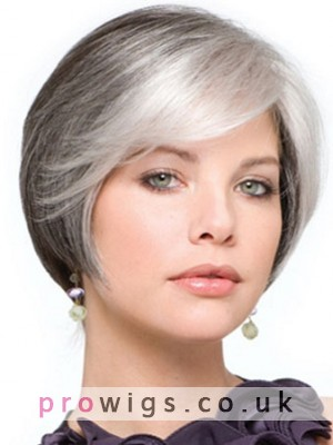 Short Synthetic Lace Front Grey Wig