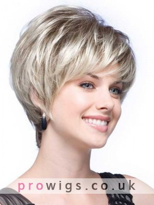 Short Tapered Synthetic Lace Front Grey Wig