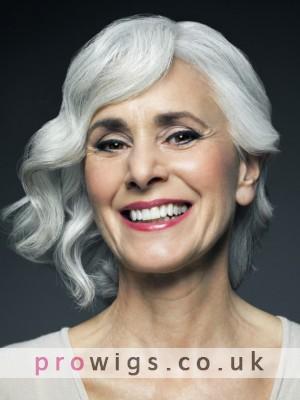 Full Lace Medium Wavy Old Lady Gray Wig