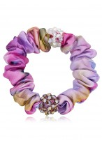 Beautiful Rainbow Colored Printing Crystal Headdress Flower Scrunchies
