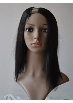 Mid-Length Natural Silky Straight U Part Wig