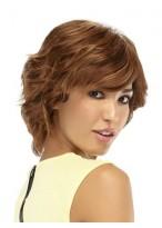 Short Shag Human Hair Wavy Wig