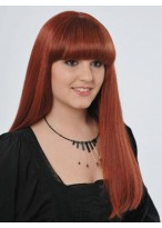 """22"""" Straight Full Lace Human Hair Wig with Bangs"""