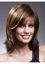 Mid-Length Textured Layers Human Hair Lace Front Wig