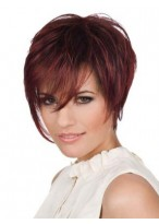 Short Straight Layers Cut Human Hair Lace Front Wig